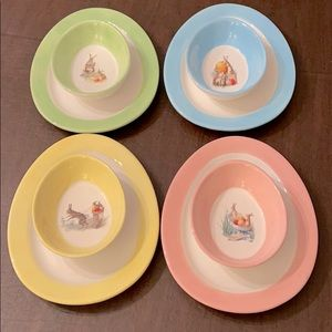 Williams Sonoma Rabbit plate & bowl set of 4 NWOB
